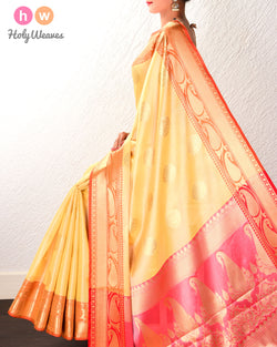 Yellow Banarasi Cutwork Brocade Woven Cotton Tissue Saree - HolyWeaves