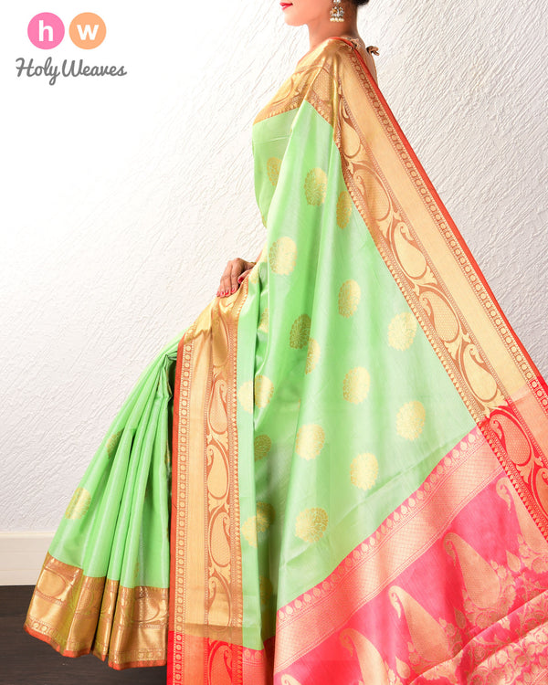 Green Banarasi Cutwork Brocade Woven Cotton Tissue Saree
