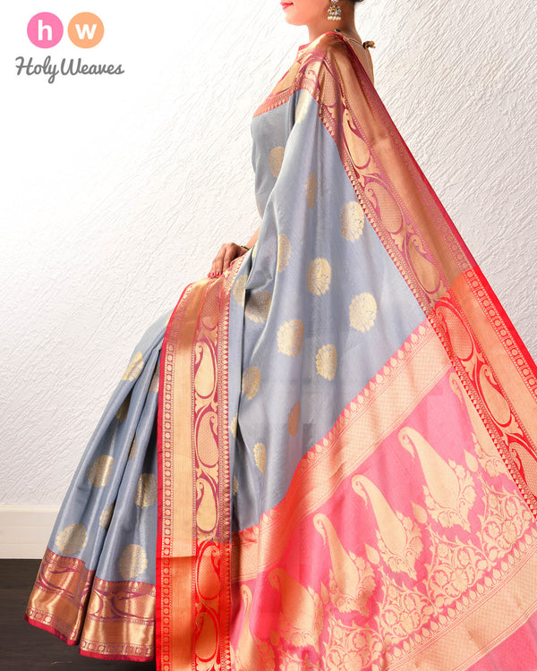 Gray Banarasi Cutwork Brocade Woven Cotton Tissue Saree