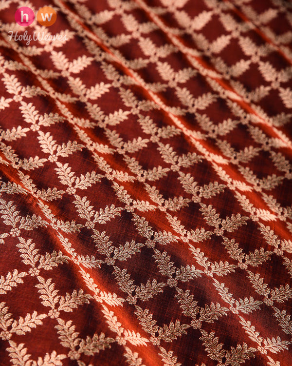 Russet Brown Banarasi Jangla Cutwork Brocade Handwoven Katan Silk Fabric