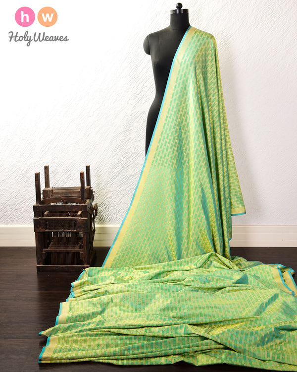 Emerald Green Banarasi Club Stripes Cutwork Brocade Handwoven Katan Silk Fabric