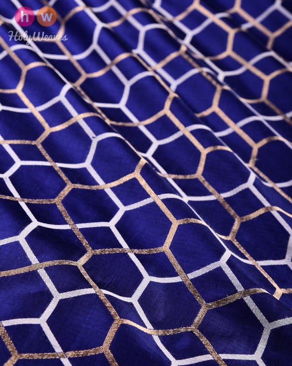 Navy Blue Banarasi Alfi Honeycomb Cutwork Brocade Handwoven Katan Silk Fabric - HolyWeaves