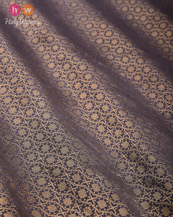 Gray Banarasi Cutwork Brocade Woven Muga Silk Fabric - HolyWeaves