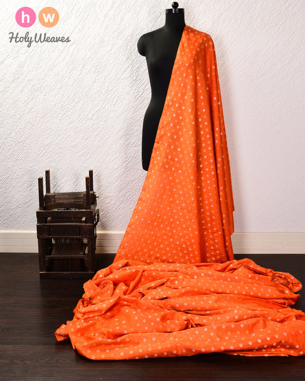 Orange Banarasi Sona Rupa Cutwork Brocade Handwoven Muga Silk Fabric - HolyWeaves