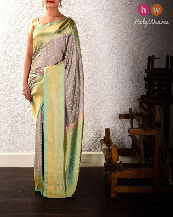 Gray Banarasi Chequered Spades Alfi Cutwork Brocade Handwoven Katan Silk Saree