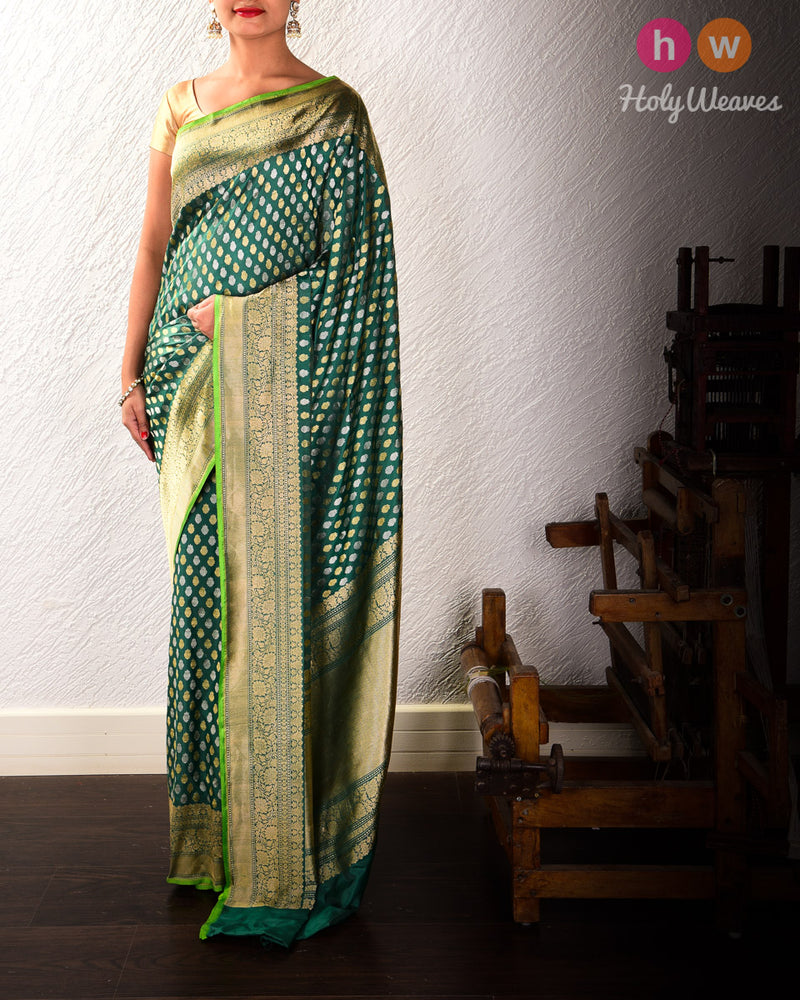 Midnight Green Banarasi Sona-Rupa Buti Alfi Cutwork Brocade Handwoven Katan Silk Saree with Brocade Blouse Piece