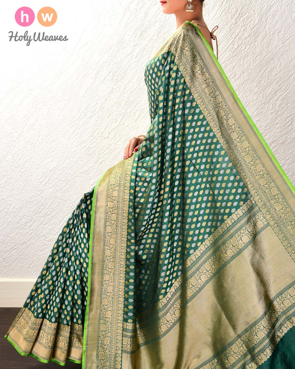 Midnight Green Banarasi Sona-Rupa Buti Alfi Cutwork Brocade Handwoven Katan Silk Saree with Brocade Blouse Piece - HolyWeaves