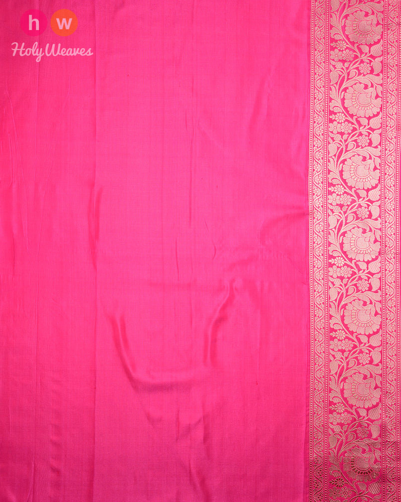 Peach Banarasi Jangla Brocade Handwoven Katan Silk Saree with Pink Kadiyal Brocade Border - HolyWeaves