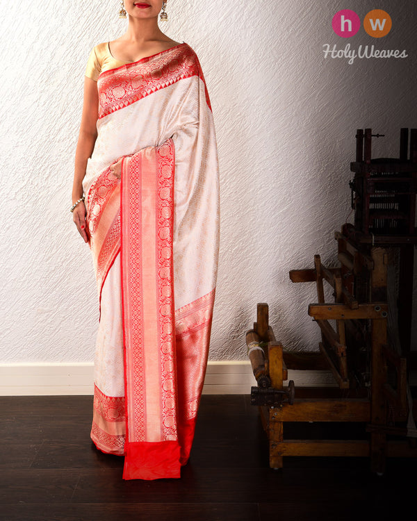 White Panetar Banarasi Jangla Brocade Handwoven Katan Silk Saree with Red Kadiyal Brocade Border
