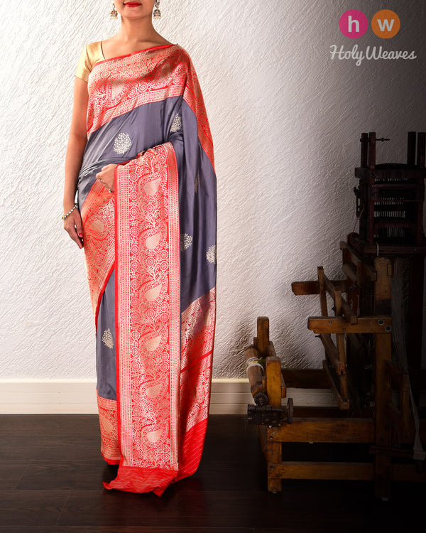 Gray Banarasi Kadhuan Brocade Handwoven Katan Silk Saree with Red Kadiyal Border Pallu - HolyWeaves