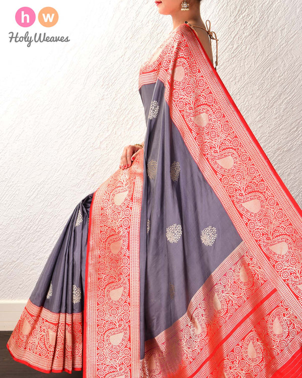 Gray Banarasi Kadhuan Brocade Handwoven Katan Silk Saree with Red Kadiyal Border Pallu