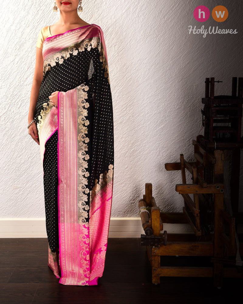 Black Banarasi Cutwork Brocade Handwoven Katan Georgette Saree with Pink Border Pallu