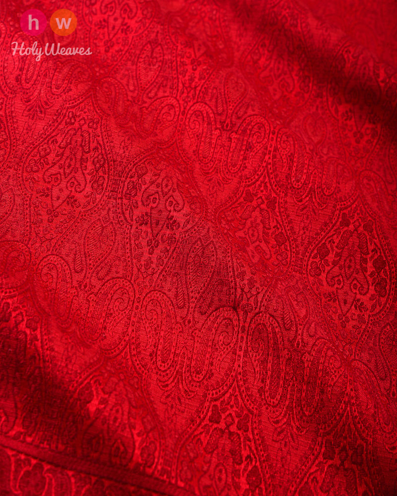 Red Banarasi Jamawar Handwoven Silk Wool Dupatta Shawl - HolyWeaves