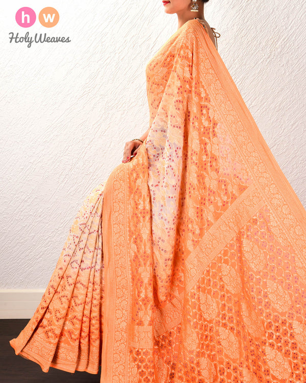 Cream-Orange Banarasi Cutwork Brocade Handwoven Khaddi Georgette Saree with 2-color Bandhej