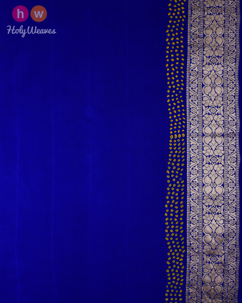Royal Blue Banarasi Cutwork Brocade Handwoven Khaddi Georgette Saree with 2-color Bandhej