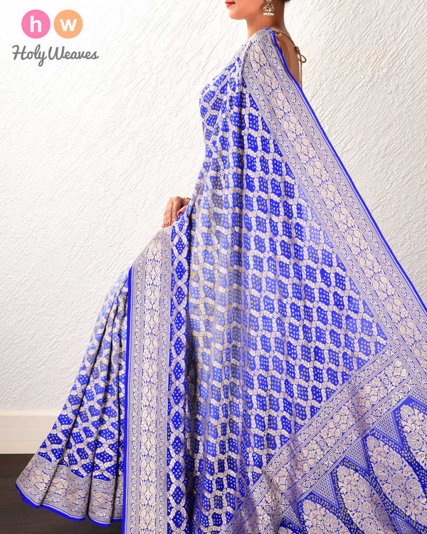 Royal Blue Banarasi Cutwork Brocade Handwoven Khaddi Georgette Saree with 2-color Bandhej - HolyWeaves