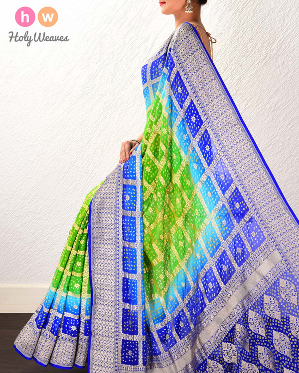 Green-Blue Banarasi Cutwork Brocade Handwoven Khaddi Georgette Saree with 2-color Bandhej