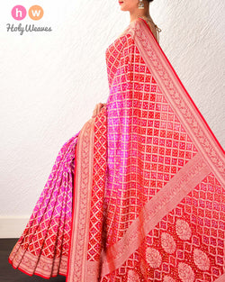Pink-Red Banarasi Cutwork Brocade Handwoven Khaddi Georgette Saree with 2-color Bandhej - HolyWeaves