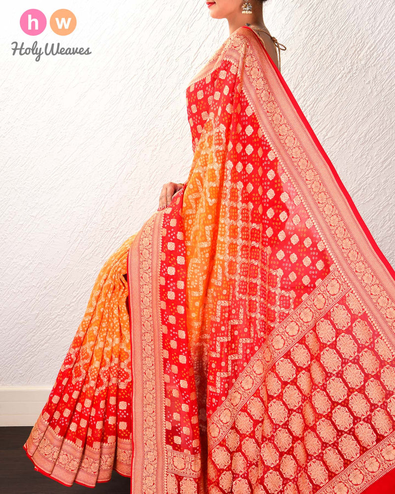 Red-Orange Banarasi Cutwork Brocade Handwoven Khaddi Georgette Saree with 2-color Bandhej