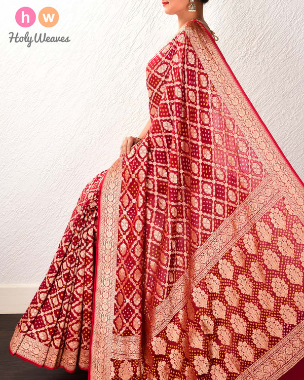 Maroon Banarasi Cutwork Brocade Handwoven Khaddi Georgette Saree with 2-color Bandhej
