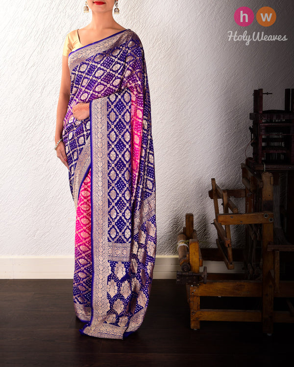 Pink-Blue Banarasi Cutwork Brocade Handwoven Khaddi Georgette Saree with 2-color Bandhej