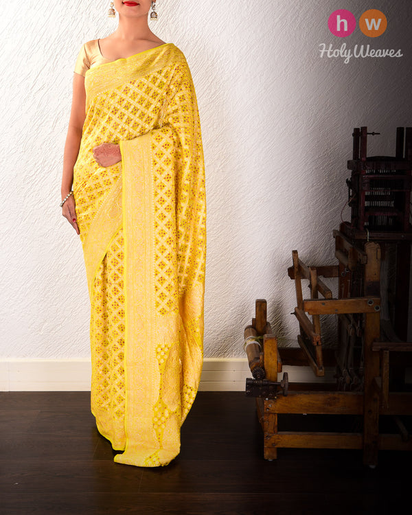 Lemon Yellow Banarasi Cutwork Brocade Handwoven Khaddi Georgette Saree with 2-color Bandhej