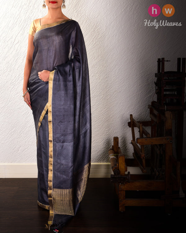 Gray Kadhuan Brocade Handwoven Tasar Silk Saree with Chessboard Zari Pallu