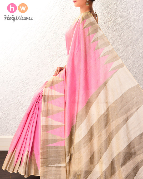 Flamingo Pink Kadhuan Brocade Handwoven Tasar Muga Tissue Saree with Kadhuan Temple Border