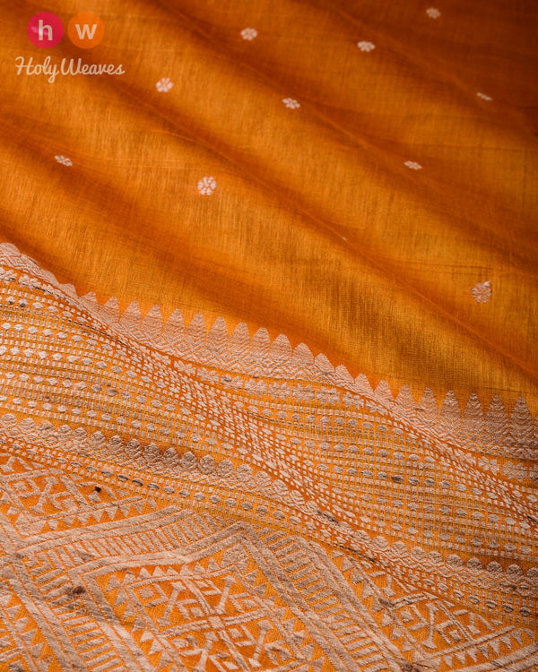 Marigold Yellow Karnaphool Kadhuan Brocade Handwoven Tasar Silk Saree with Assam Pallu - HolyWeaves