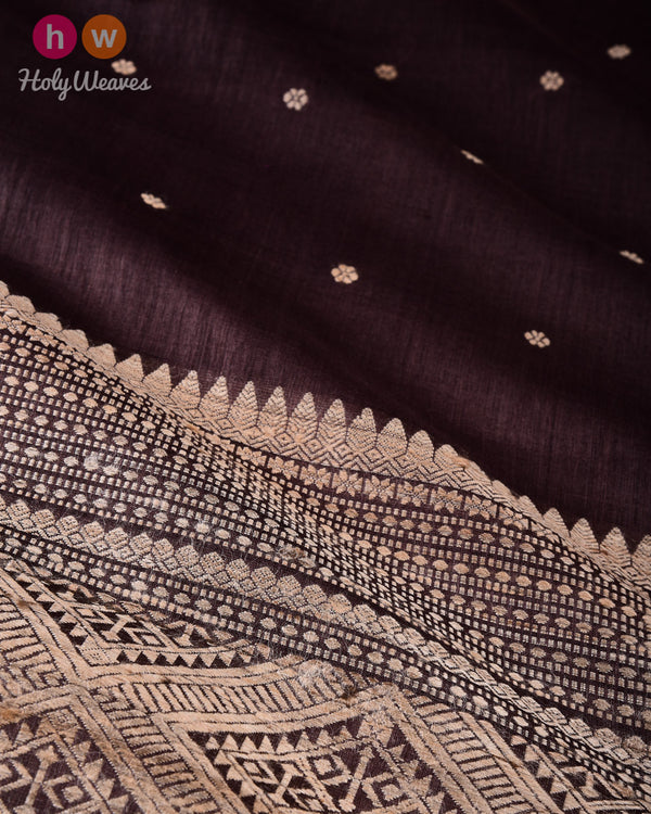 Black Coffee Brown Karnaphool Kadhuan Brocade Handwoven Tasar Silk Saree with Assam Pallu