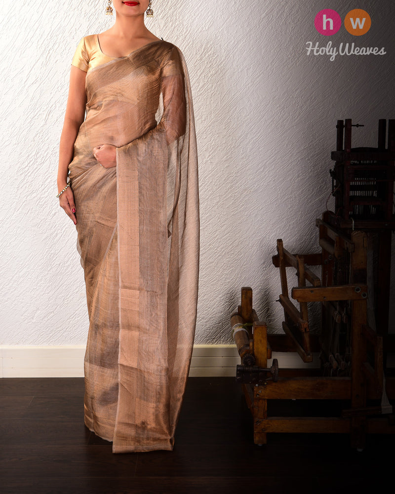 Brown Mock Leno Handwoven Tissue Saree - HolyWeaves