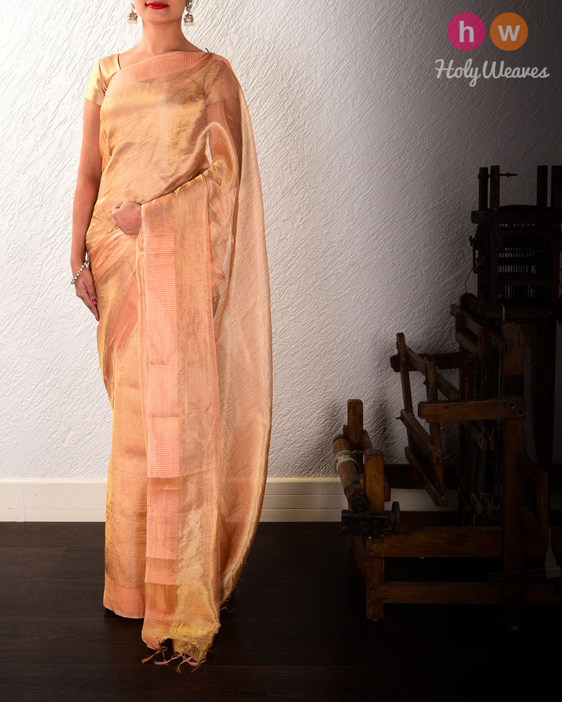 Copper Mock Leno Handwoven Tissue Saree - HolyWeaves