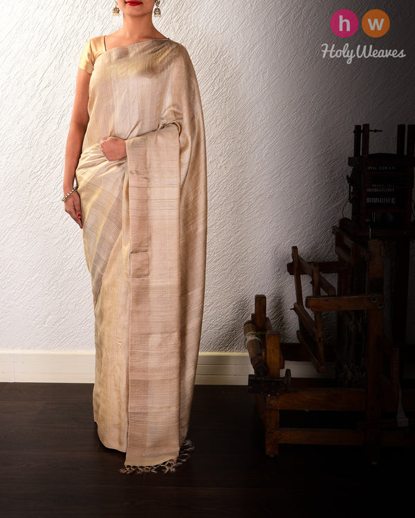 Beige Mock Leno Handwoven Tasar Muga Silk Saree with Copper Zari Border - HolyWeaves