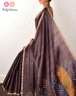 Black Coffee Brown 3-Yarn Polka Buti Kadhuan Brocade Handwoven Tasar Silk Saree with Bengal Pallu - HolyWeaves