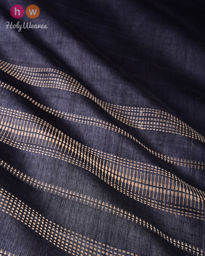 Gray Kadhuan Brocade Handwoven Tasar Silk Saree with Temple Border Khapa Pallu - HolyWeaves
