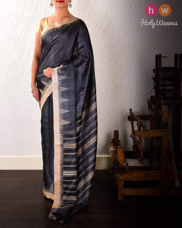 Gray Kadhuan Brocade Handwoven Tasar Silk Saree with Temple Border Khapa Pallu