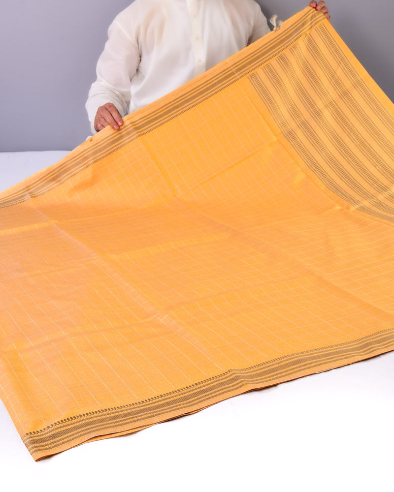Mustard Yellow Chequered Kadhuan Brocade Handwoven Tasar Muga Silk Saree with Khapa Pallu