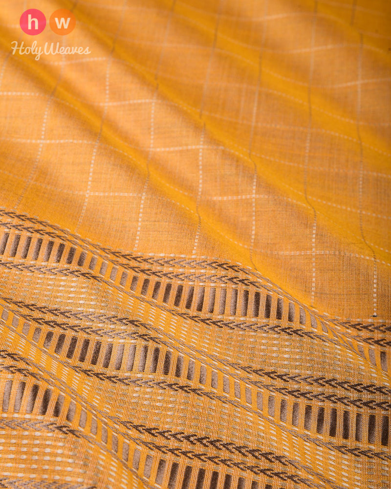 Mustard Yellow Chequered Kadhuan Brocade Handwoven Tasar Muga Silk Saree with Khapa Pallu - HolyWeaves