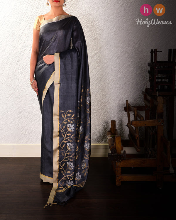 Gray Kadhuan Brocade Handwoven Tasar Silk Saree with Sona-Rupa Pallu