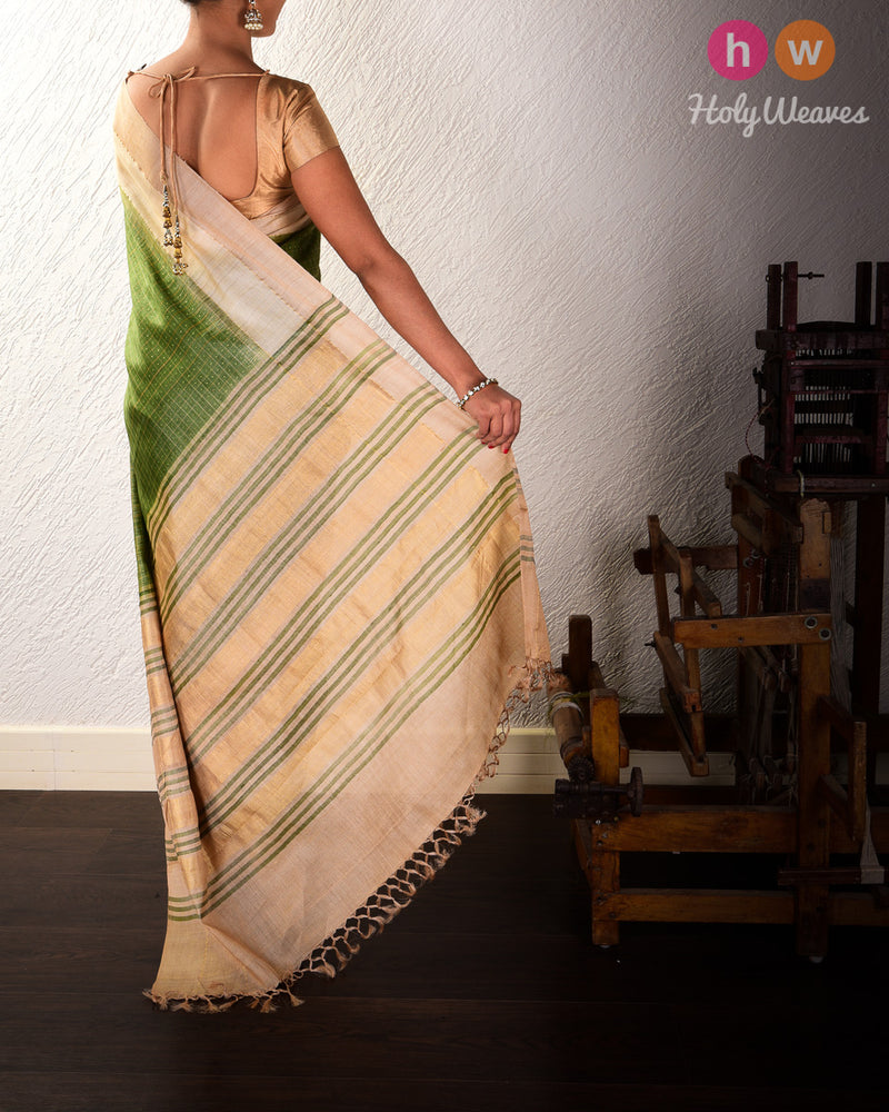 Olive Green Check Tikli Buti Kadhuan Brocade Handwoven Tasar Silk Saree with 2-color Border - HolyWeaves