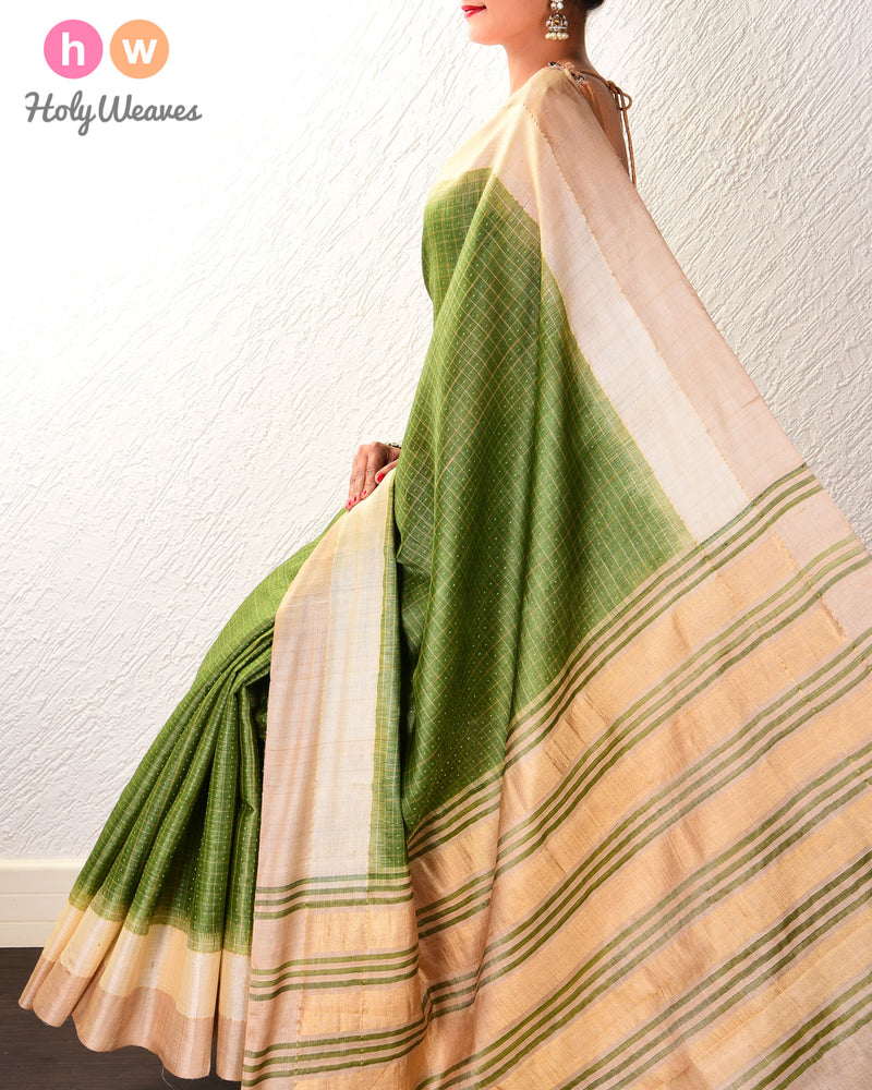 Olive Green Check Tikli Buti Kadhuan Brocade Handwoven Tasar Silk Saree with 2-color Border