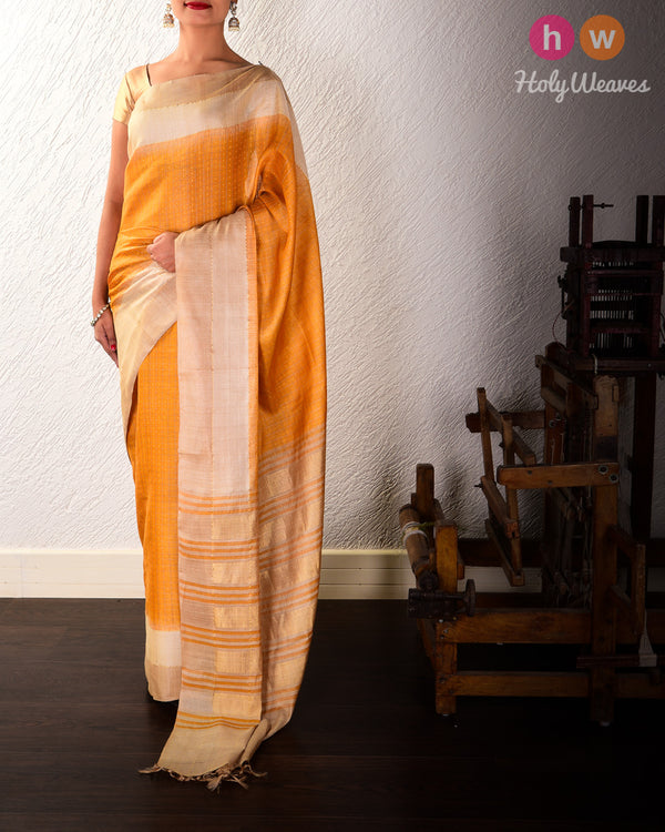 Golden Yellow Check Tikli Buti Kadhuan Brocade Handwoven Tasar Silk Saree with 2-color Border - HolyWeaves