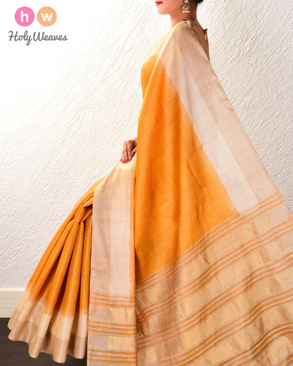 Golden Yellow Check Tikli Buti Kadhuan Brocade Handwoven Tasar Silk Saree with 2-color Border