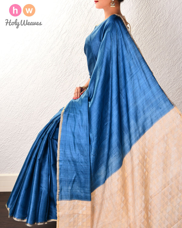 Blue Kadhuan Brocade Handwoven Tasar Silk Saree with Serrated Pallu - HolyWeaves