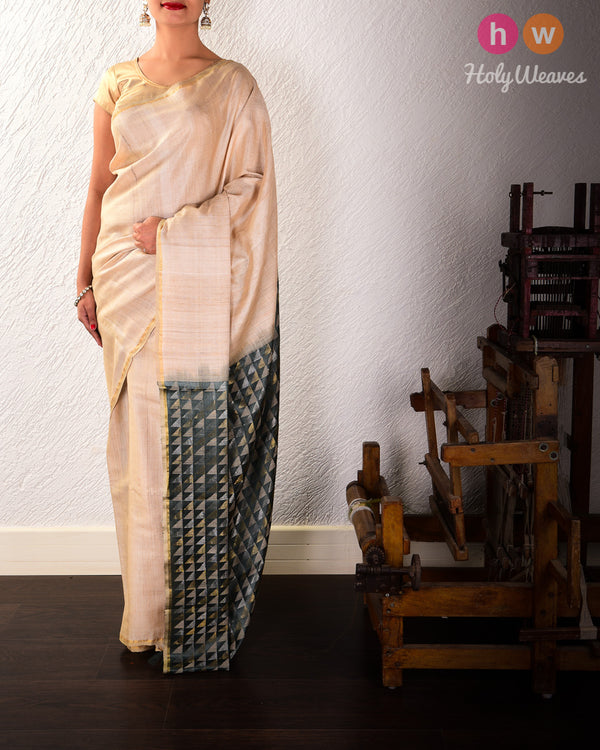 Beige Kadhuan Brocade Handwoven Tasar Silk Saree with Serrated Pallu - HolyWeaves