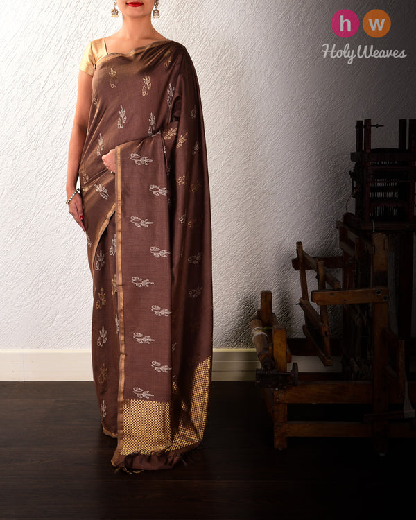 Brown Leaf Buti Kadhuan Brocade Handwoven Tasar Silk Saree