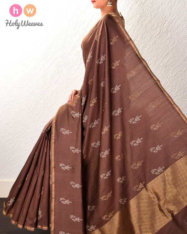 Brown Leaf Buti Kadhuan Brocade Handwoven Tasar Silk Saree - HolyWeaves