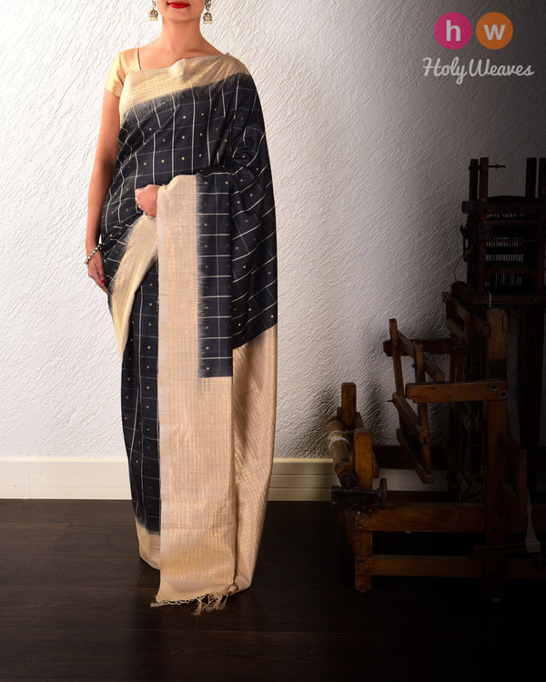 Gray Chequered Buti Kadhuan Brocade Handwoven Tasar Muga Silk Saree