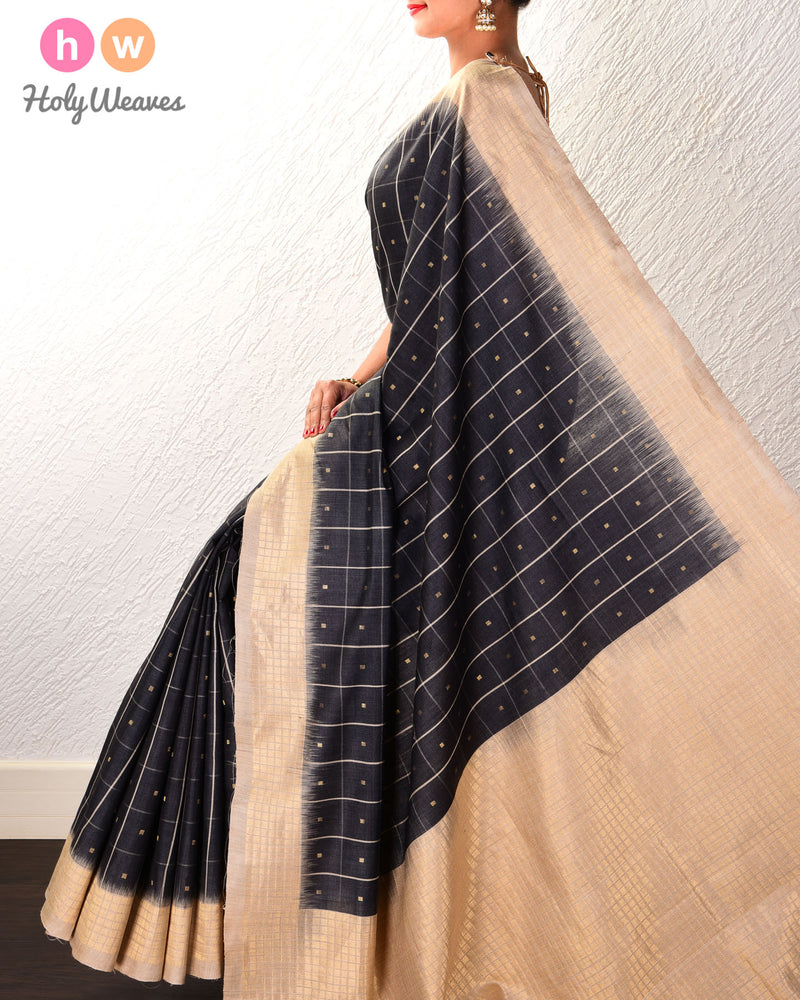 Gray Chequered Buti Kadhuan Brocade Handwoven Tasar Muga Silk Saree - HolyWeaves