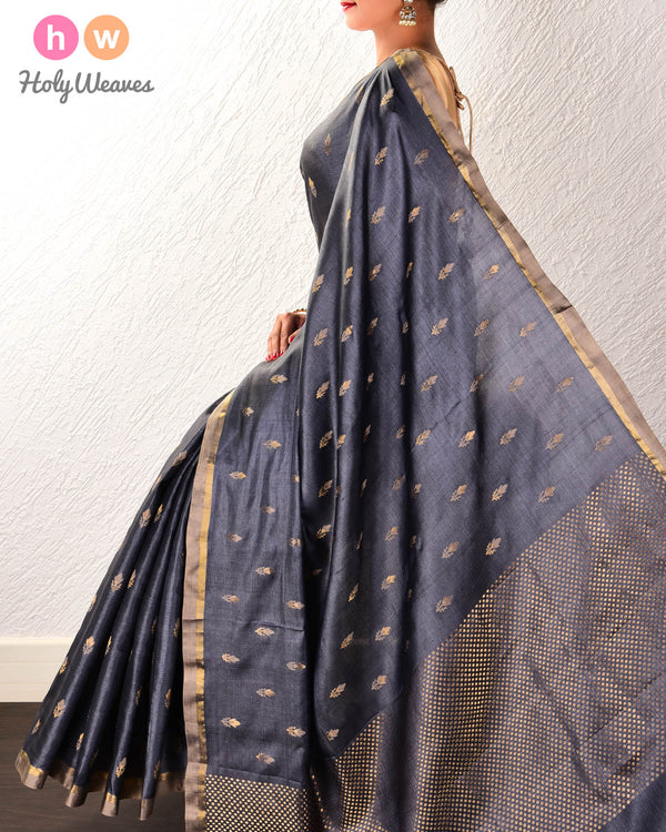Gray Alfi Pushp Buti Kadhuan Brocade Handwoven Tasar Silk Saree - HolyWeaves